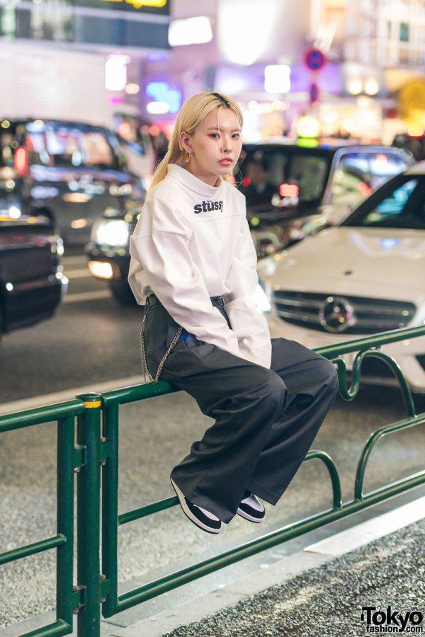 Lee Hyo Jin of Korean Streetwear Brand Open The Door on The Street in Harajuku