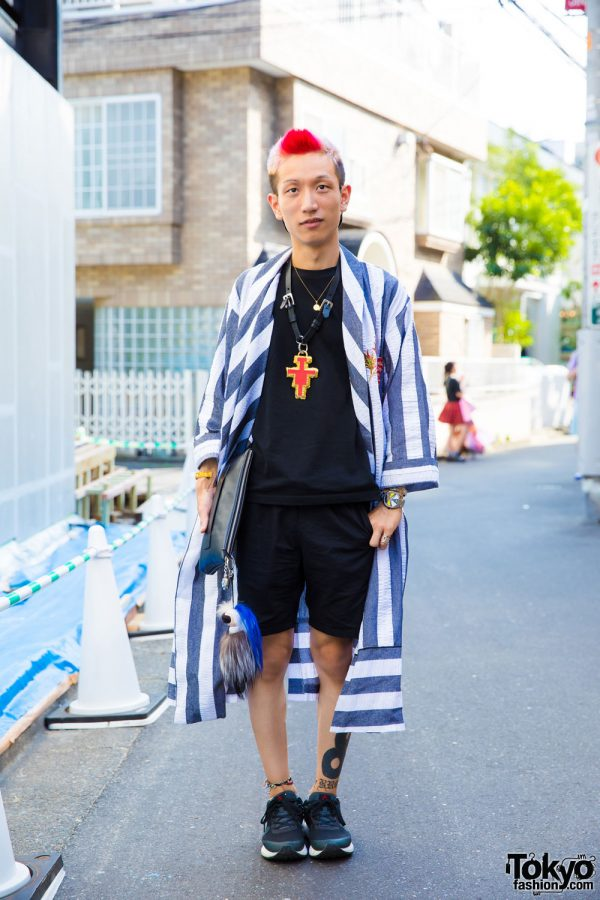 Stripes Street Fashion in Harajuku w/ Chanel, Murua, Louis Vuitton, Versace & Ambush