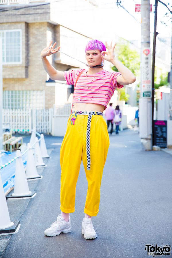Pink Hair, Piercings & Colorful Vintage Fashion in Harajuku w/ See Thru Bag & FILA Disruptor 2 Sneakers