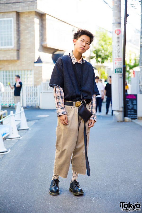 Harajuku Guy in Plaid Fashion w/ A'Gem Tokyo, Burberry, Gucci, Rick Owens & Dr. Martens