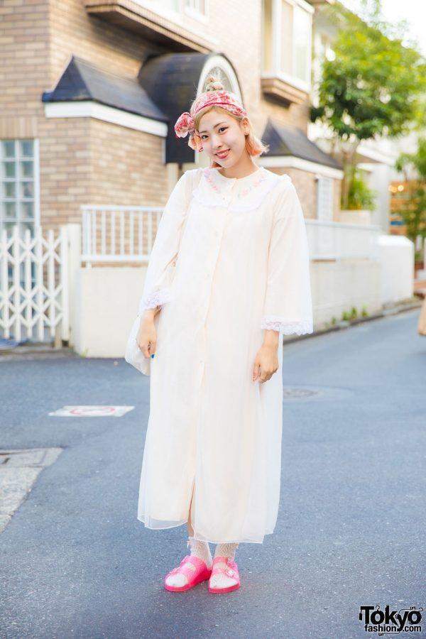 Nightwear as Outerwear Fashion in Harajuku Street w/ Bernet & Forever21
