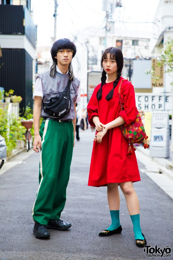 Red & Green Harajuku Streetwear Looks w/ Vintage Fashion, The Four-Eyed, FILA, Reebok, Asics & Mikansei
