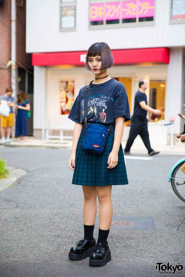 Harajuku Girl w/ Purple Bob & Piercings in Vintage Band T-Shirt w/ Faith Tokyo, Bubbles & Eastpak