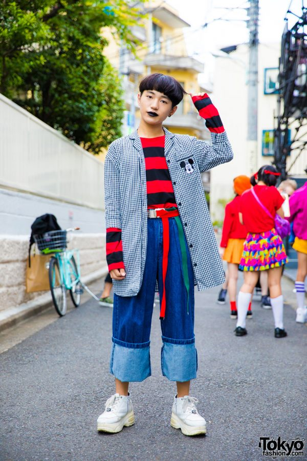 Harajuku Boy in Black Lipstick w/ Plaid Mickey Mouse Coat, Stripes, Cuffed Jeans & Yosuke