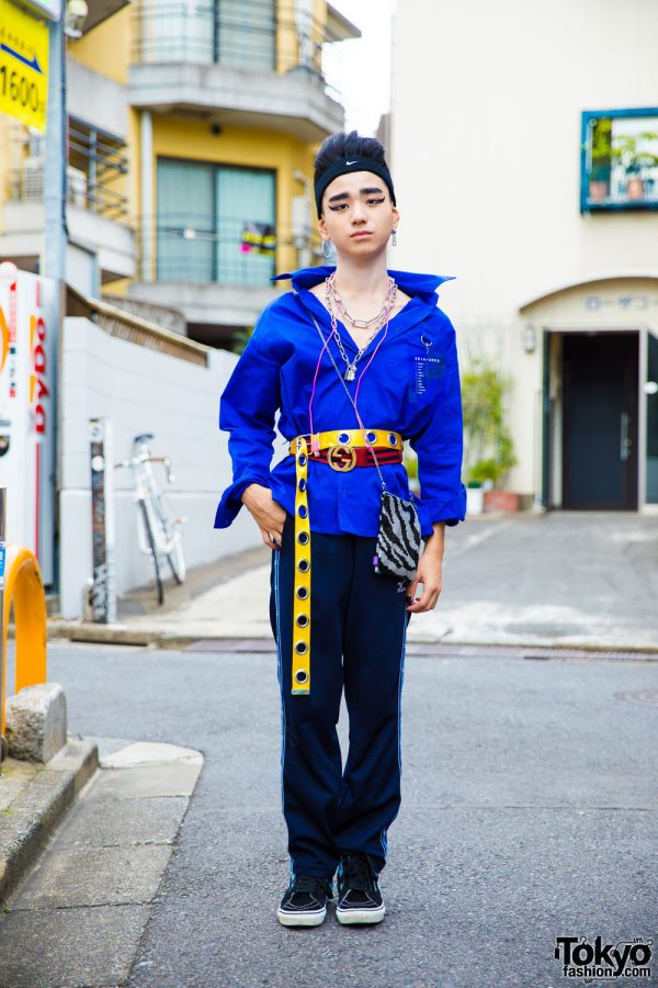 Belted Shirt, Track Pants & Headband Harajuku Style w/ Peco Club, Mizuno, Eria/Area, Vans & Gucci