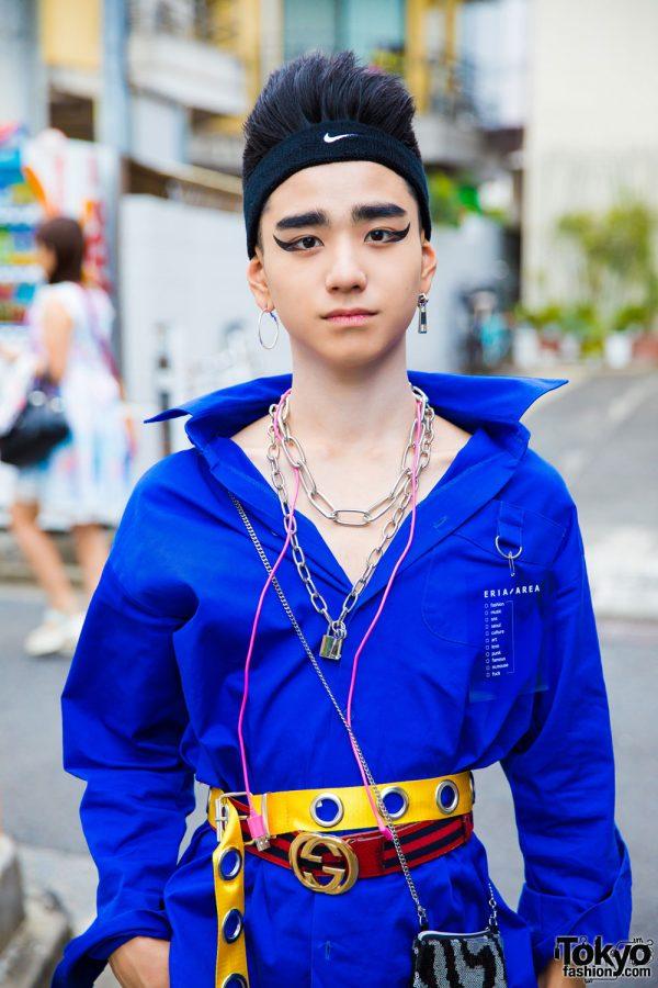 Belted Shirt Track Pants Amp Headband Harajuku Style W