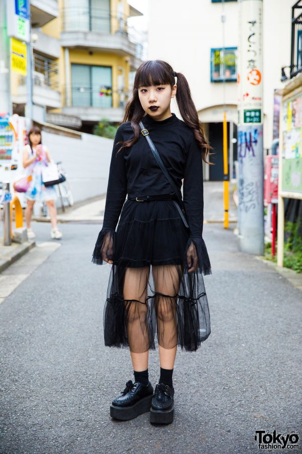 Harajuku Girl In Dark Streetwear W Nadia Sheer Skirt Platform Creepers