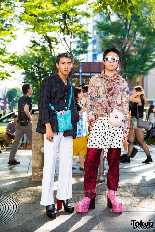 Harajuku Guys in Retro & All Over Print Vintage Fashion w/ Coach, Yoshiki Nishimuna, Comme des Garcons & Forever21