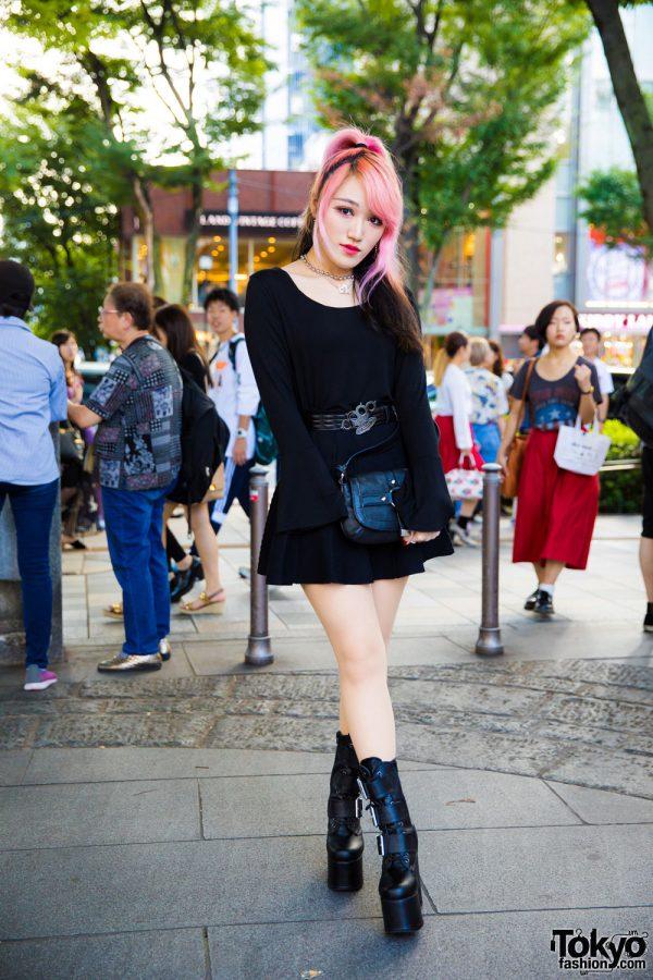 Moth in Lilac Guitarist in All Black Harajuku Street Style w/ Dholic, Style Nanda, Demonia, Vivienne Westwood & Michael Kors