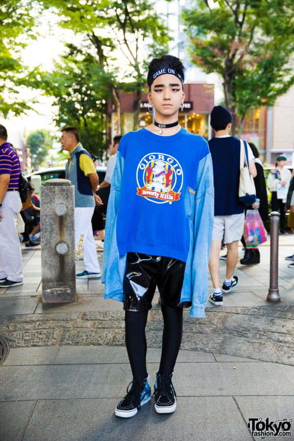 Harajuku Guy in Sweatshirt & Shorts Over Tights Style w/ Forever21, Spinns, Vans & Romantic Standard