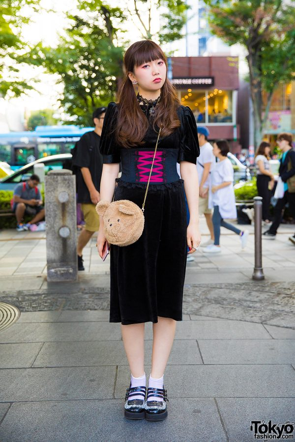 Twin-Tailed Harajuku Girl in Vintage Velvet Dress & Corset w/ Merry Jenny & Vivienne Westwood