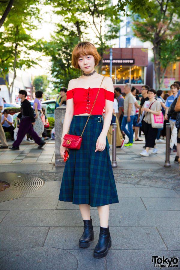 Harajuku Girl in Corset Crop Top & Plaid Midi Skirt w/ Topshop, 3/4 Three Quarter & Gucci