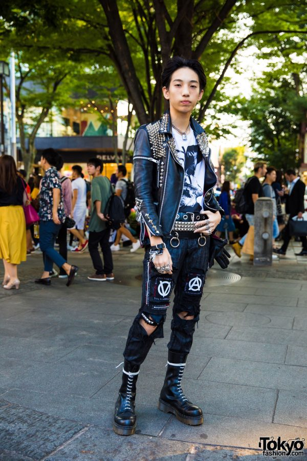 Harajuku Punk Style w/ Handmade Leather Jacket & Ripped Denims w/ Dr. Martens, Fetis & Tokyo Human Experiments