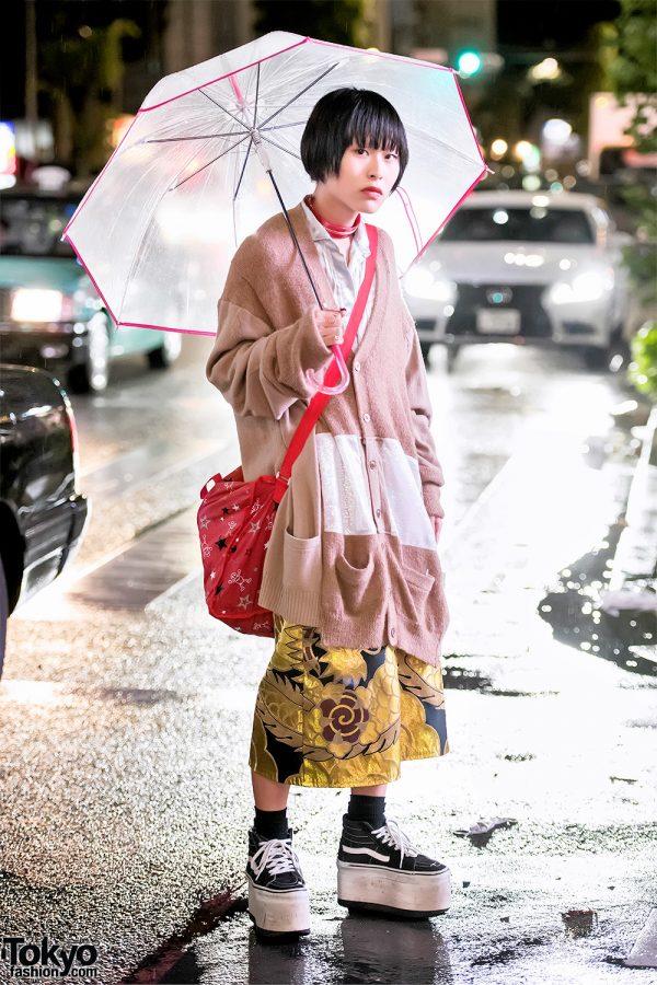 Harajuku Guy in Oversized Cardigan, Zomu Brocade Shorts & Platform Vans Sneakers