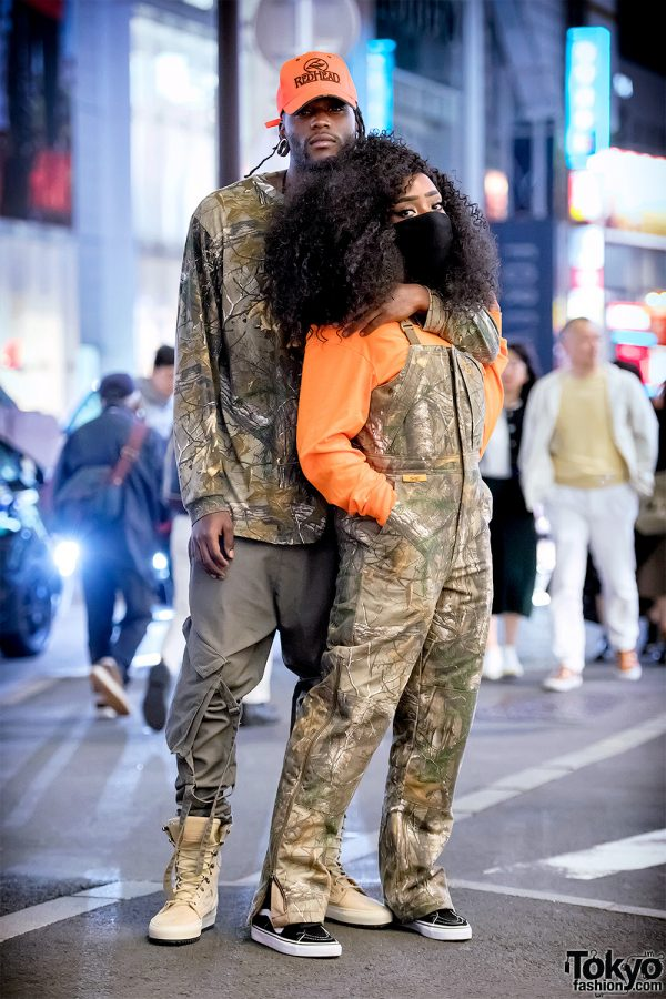 Harajuku Duo in Hunting Gear Street Styles w/ She Camouflage, Redhead Cap & Vans