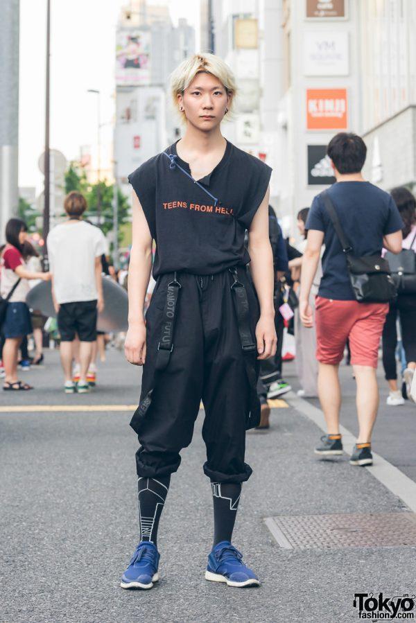 Blonde Harajuku Guy in Black Streetwear Fashion w/ Y-3 & Alpha Ashtbon