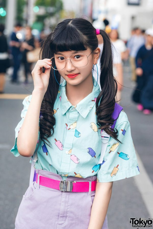 Harajuku Model/Actress in Pastel Popsicle Street Style w