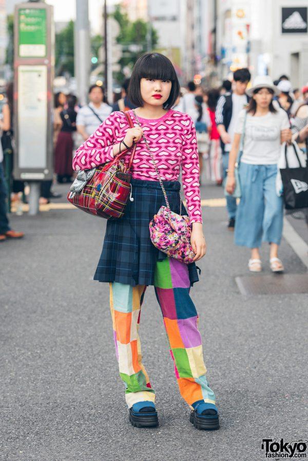 Harajuku Girl in Colorful Mixed Prints Fashion w/ Kinji & Pin Nap Vintage