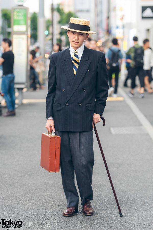 Dapper Retro Menswear Street Style in Harajuku w/ Comme des Garcons Coat & Vintage Shoes