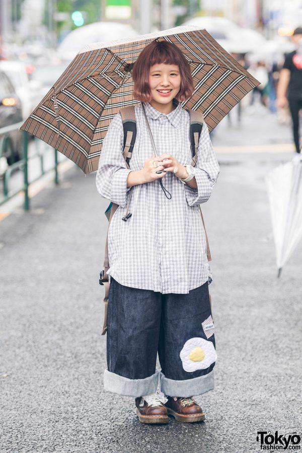 Oversized Harajuku Street Style w/ Amatunal Fried Egg Pants, Checkered Shirt & Dr. Martens
