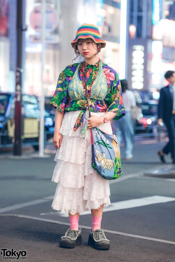 Harajuku Girl in Colorful Fashion w/ Santa Monica, Haight & Ashbury, Juxtaposition & Swimmer