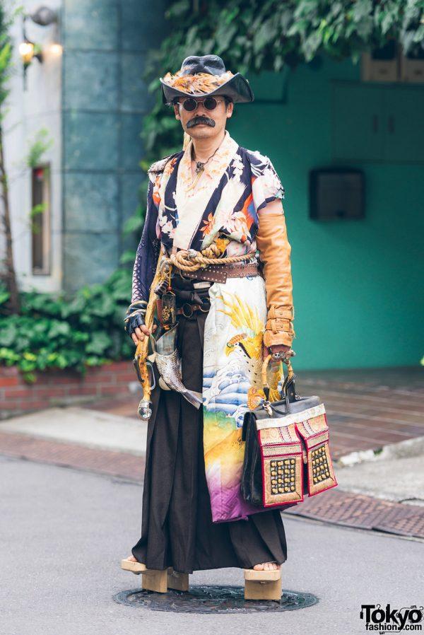 Japanese Steampunk Street Fashion w/ Embroidered Kimono, Geta Sandals & Handmade Items