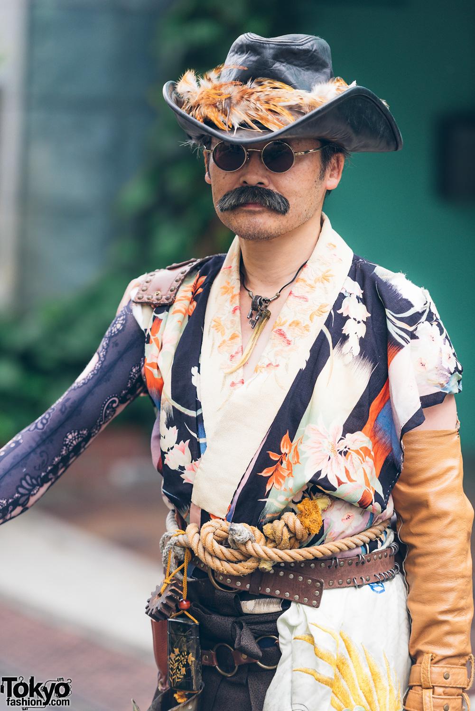 Japanese Steampunk Street Fashion W Embroidered Kimono