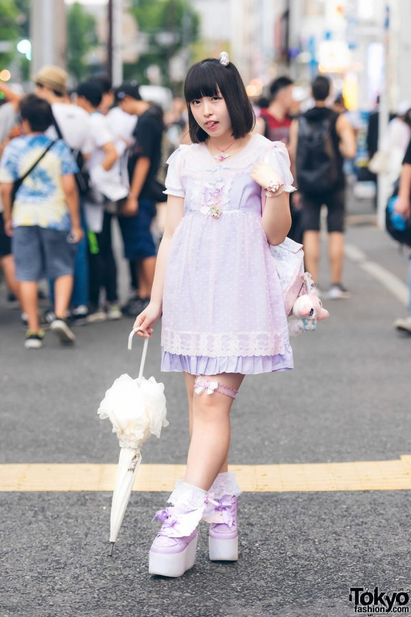 Harajuku Girl in Purple Pastel Fashion w/ Nile Perch, Swimmer, Lagrace Mart, Sanrio & Precure