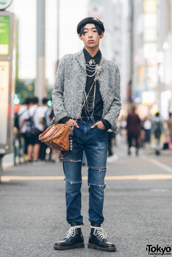 Harajuku Guy in Resale Tweed Jacket w/ Versace, Uniqlo, Dr. Martens, Balenciaga, MCM & Faith Tokyo