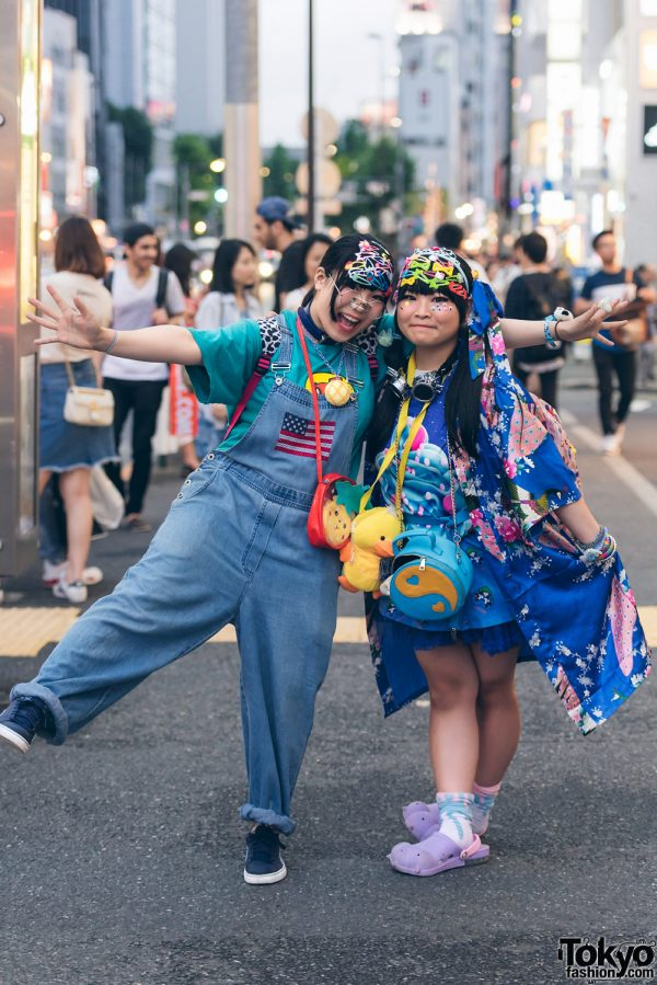 Harajuku Girls in Blue Streetwear Fashion w/ ACDC Rag, Akiba Sandal, Thank You Mart, Puma, Spao, Claire's, Nakano Ropeway & Swimmer