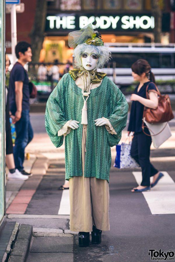 Japanese Shironuri Artist Minori in Harajuku w/ Green Vintage & Handmade Fashion