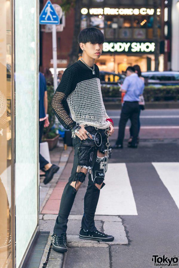 Harajuku Punk in Handmade Distressed Pants Fashion w/ 666 Japan, Visionaire, Converse & Tokyo Human Experiments