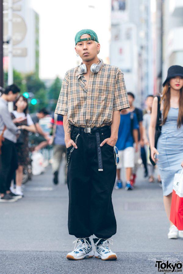 Harajuku Guy in Vintage Streetwear w/ Burberry Tartan, M.Y.O.B. NYC & Beats by Dre