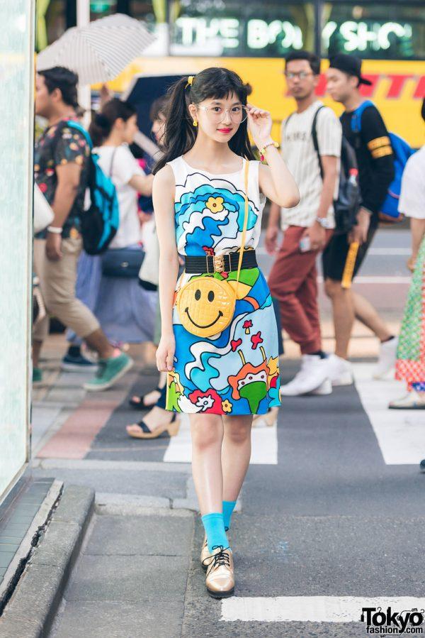 Harajuku Model/Actress in Vintage Printed Dress, WEGO, G2?, Sevens & Thank You Mart