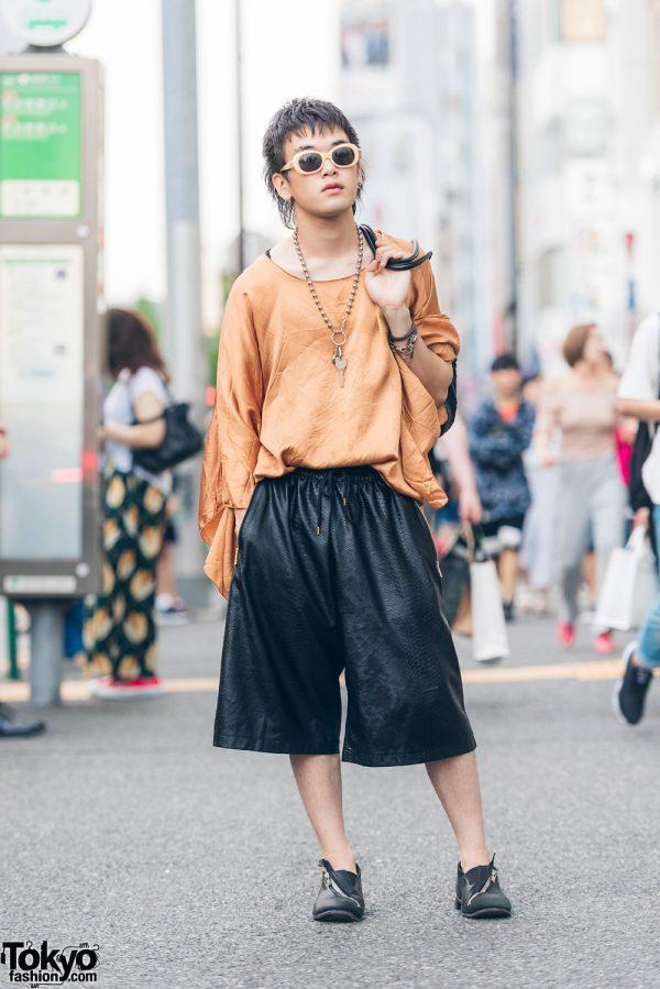 Harajuku Guy in Black & Gold Oversized Vintage Fashion w/ T.A.S. LT Tokyo & Christian Dior
