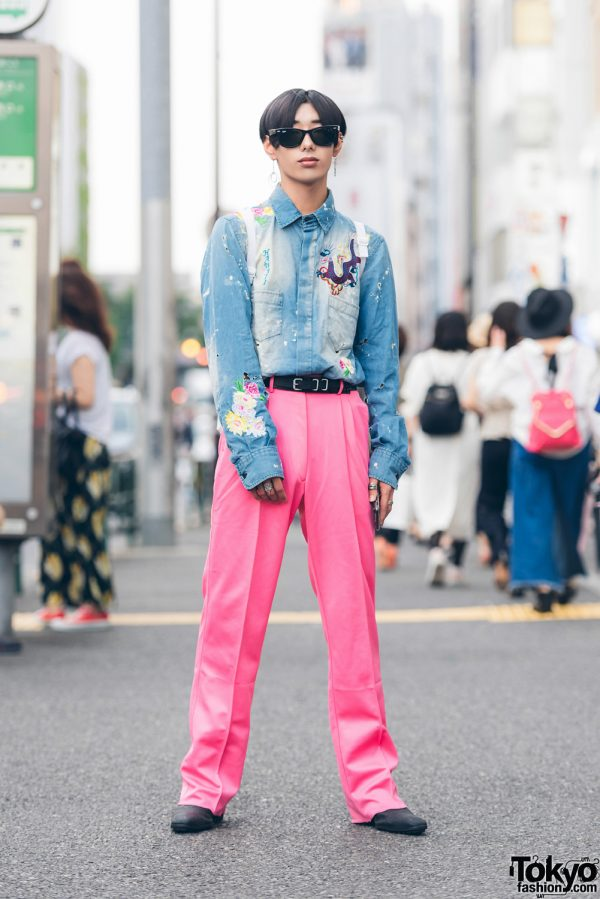 Harajuku Streetwear Look w/ D&G Denim Dragon Shirt, Pink Pleated Pants, Balenciaga Belt & Sackpack