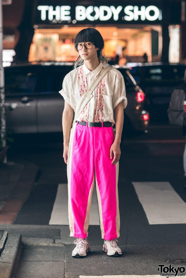 Harajuku Guy in Pink & White Fashion w/ Comme des Garcons, Christopher Nemeth, Nike & Christian Dior