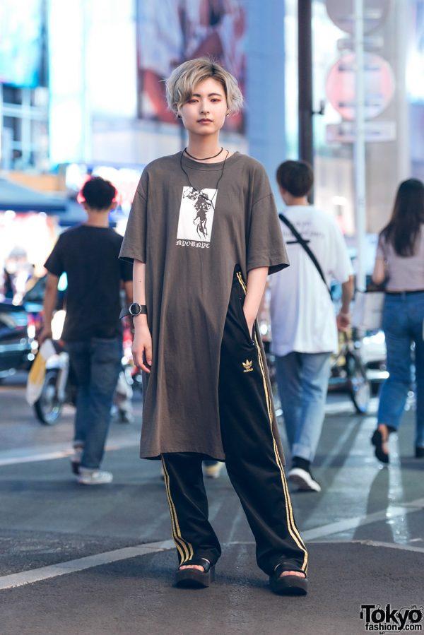 Oversized Shirt Street Fashion in Harajuku w/ M.Y.O.B., Adidas, Tokyo Bopper, Chance Chance & Faith Tokyo