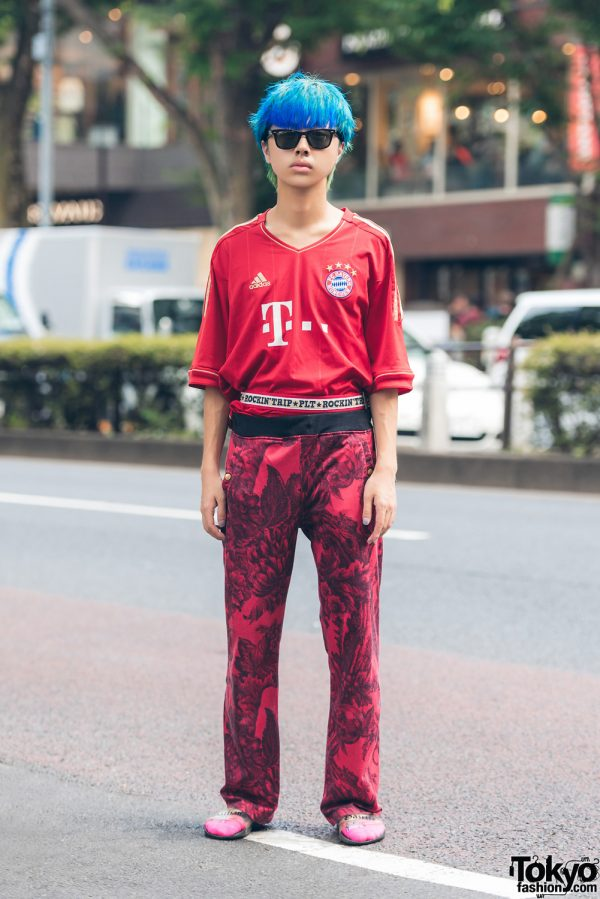Blue-Haired Harajuku Guy in All Red Street Style w/ Vintage Jersey & Pants, John Galliano Sliders & Ray-Ban Sunglasses