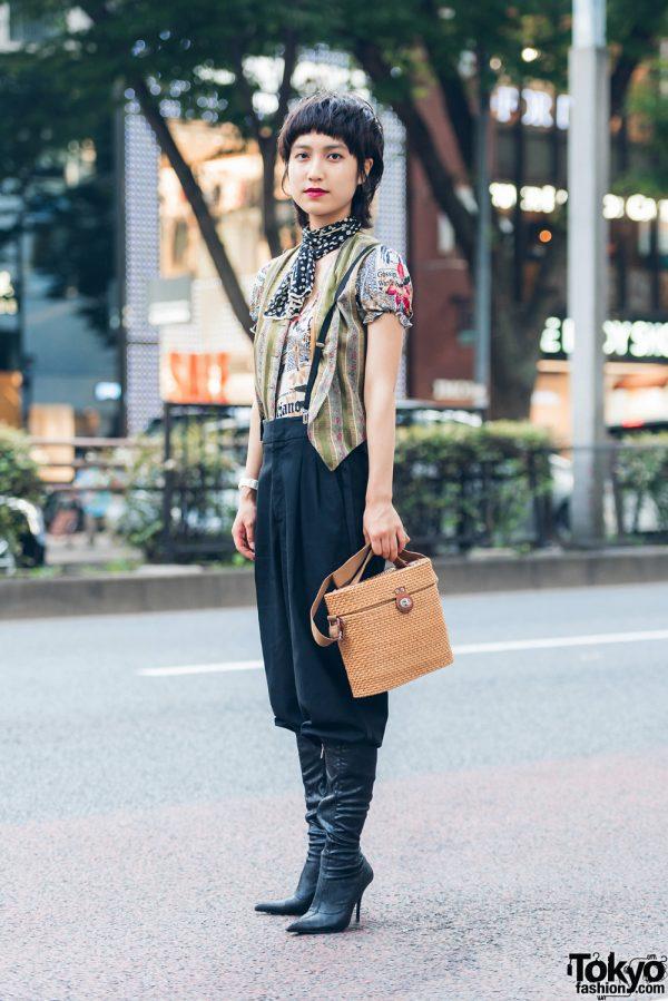 Harajuku Girl in Chic Retro Street Style w/ John Galliano Print Top & Suspenders