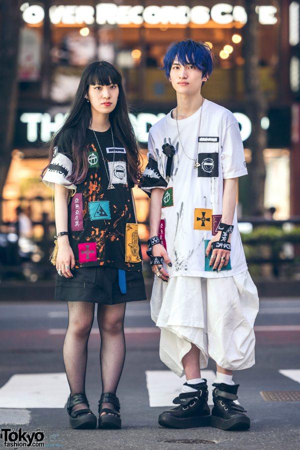 Harajuku Couple Streetwear w/ Patched Shirts, DVMVGE, Tokyo Bopper, Banage, Monomania, Comme des Garcons & Vivienne Westwood