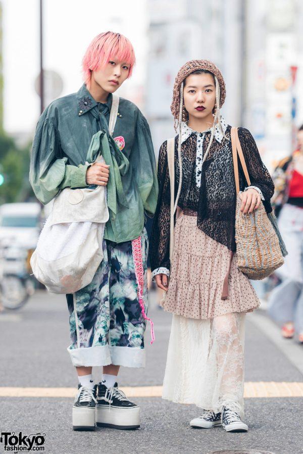 Harajuku Duo in Eclectic Print Fashion w/ Miyanishiyama, Balmung, Jumancho Long Hair, Vans, Converse, Kinji & Zara