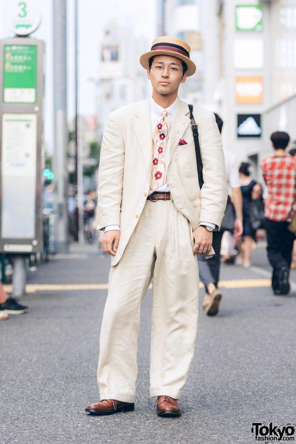 Retro Men's Khaki Suit Street Style in Tokyo w/ Polo Ralph Lauren & Sears