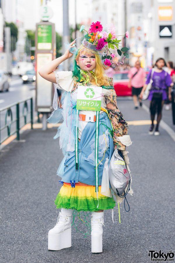 Handmade, Remake & Layered Street Style Ensemble w/ YRU, 100 Yen Shop & Handmade Flower Head Dress