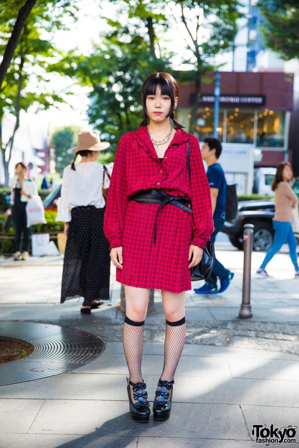 Harajuku Girl in Plaid Dress, Fishnet Socks & Platform Bow Shoes
