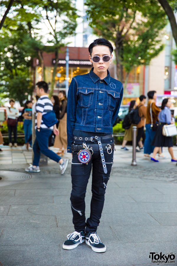 Denim on Denim Harajuku Streetwear Fashion w/ The Symbolic Tokyo, Vans & 99%IS-