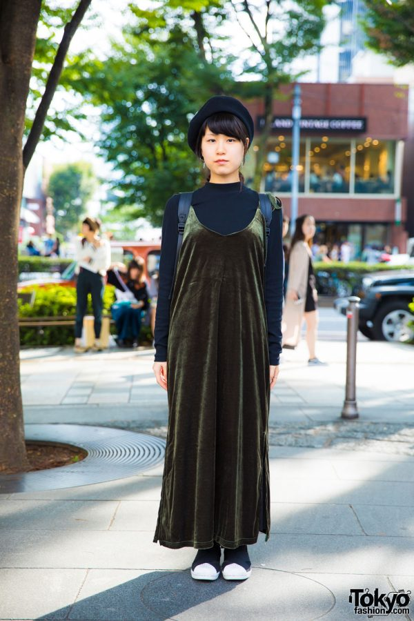 Harajuku Girl in Velvet Jumper Dress Fashion w/ UNIQLO, Helk, Adidas, Teppen, Ikumi & Muji