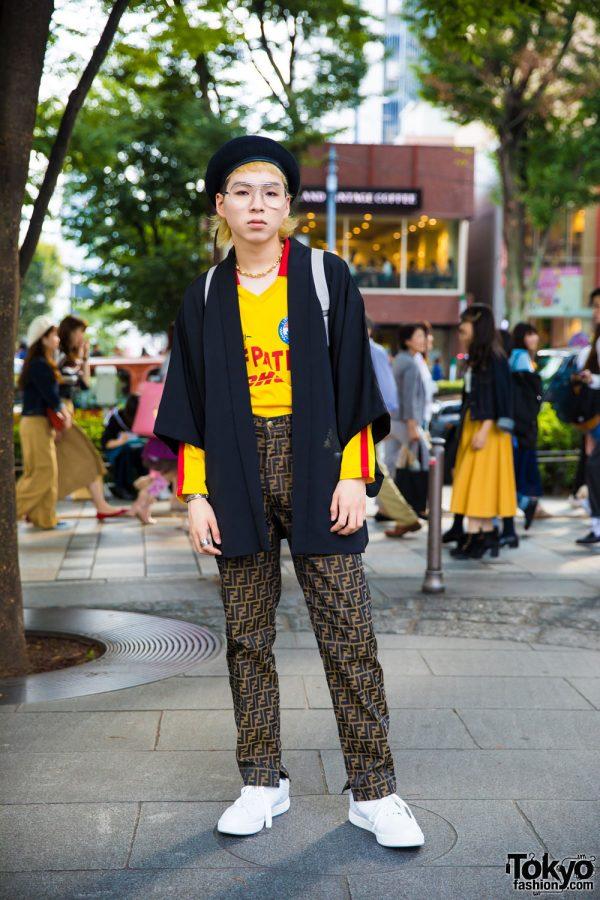 Harajuku Guy in Vintage Eclectic Fashion w/ DHL, Fendi, & Kappa