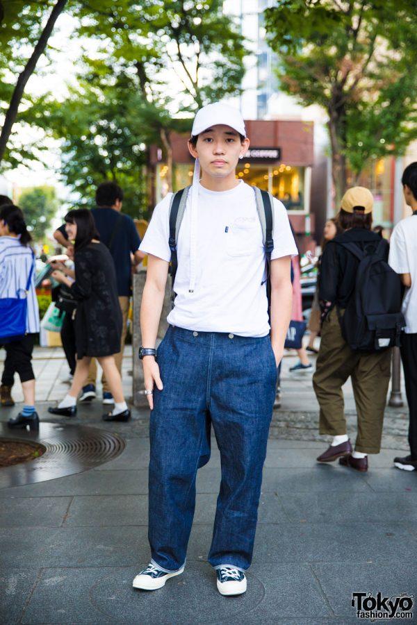 Harajuku Guy in White & Denim Streetwear w/ Ripndip, Tuki, Converse x Comme des Garcons, Cote & Ciel, Gucci, Maison Martin Margiela, Hublot & Cartier