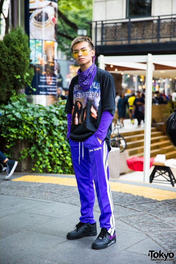Purple Harajuku Streetwear w/ Palm Angels & Nike Air Force One Sneakers